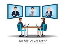 出席在书桌上的买卖人电视电话会议在办公室 向量例证
