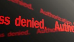 出故障的授权 被拒绝的存取 红色文本赛跑 被取缔的词条 向量例证