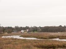 出海口河场面秋天冬天白色天空叶子风景 库存图片
