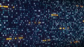 出现在改变的Ethereum经典说明在屏幕上的十六进制标志中 股票视频