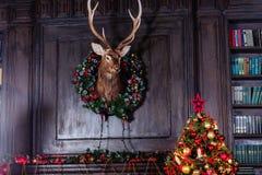 出现在门装饰的圣诞节花圈 库存图片