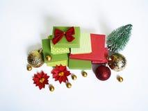 出现日历动画片圣诞节要素图标计时多种 创作的过程,手工制造 在箱子的礼物 新年度 圣诞节 库存图片