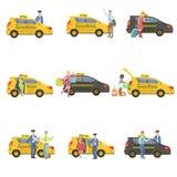 出租汽车、司机和他们的客户被设置 库存照片
