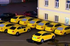 出租汽车公园在莫斯科的中心 免版税库存照片