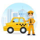 出租汽车司机在城市 出租汽车黄色 平的传染媒介例证,出租汽车服务 免版税库存照片