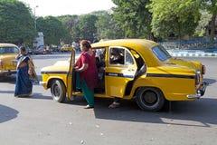 出租汽车在加尔各答,印度 库存照片