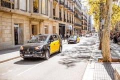 出租汽车在巴塞罗那 库存照片