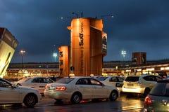 出租汽车在机场 免版税库存照片