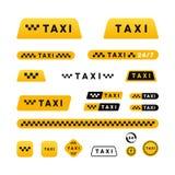 出租汽车时髦的套商标和贴纸 图库摄影