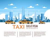 出租汽车服务模板与拷贝空间,在城市背景的黄色小室汽车的Infographic横幅 库存例证