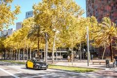 出租汽车汽车在巴塞罗那 库存照片