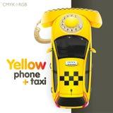 出租汽车黄色电话 库存图片