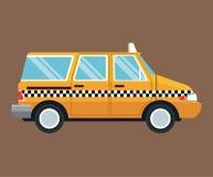 出租汽车van car侧视图褐色背景 免版税库存图片