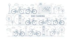 出租自行车停放在城市街道、电子付款终端、地图立场和树上的停放站 概念  皇族释放例证