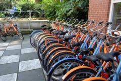出租自行车停车处 库存照片