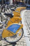 出租自行车在布鲁塞尔 免版税库存图片