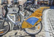 出租自行车在布鲁塞尔 免版税库存照片