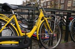 出租自行车在阿姆斯特丹 免版税库存照片