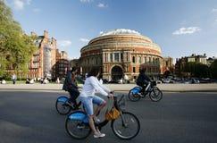 出租自行车的游人,通过皇家阿尔伯特霍尔 免版税库存照片