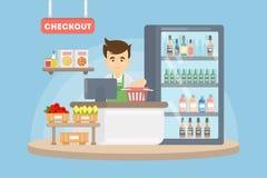 出纳员在超级市场 皇族释放例证
