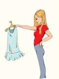 出色的女孩购物年轻人 免版税库存图片