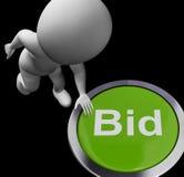 出价按钮显示拍卖买卖 免版税库存照片