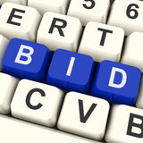 出价钥匙显示在网上出价或拍卖 库存例证