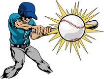 击中例证球员的棒球 库存图片