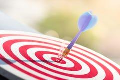 击中在掷镖的圆靶的目标中心的箭箭头 概念对市场成功的企业目标 免版税库存照片