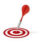 击中红色目标的箭 免版税库存图片