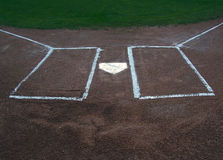 击球员区本垒板 免版税库存图片
