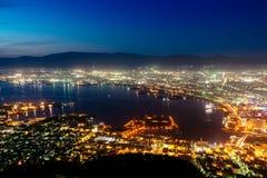 函馆夜视图从Mt的 函馆,日本 免版税库存图片