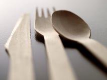 刀叉餐具一次性木头 库存图片