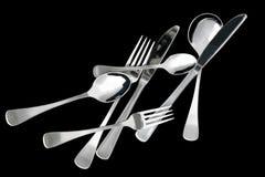 刀叉餐具分散 免版税库存照片