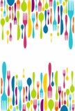 刀叉餐具剪影图标背景 免版税库存图片