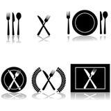 刀叉餐具和牌照图标 免版税库存图片