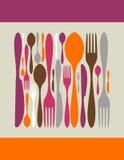 刀叉餐具图标做正方形 库存例证