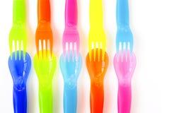 刀叉餐具塑料 免版税库存照片