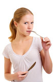 刀叉餐具女孩 免版税库存照片