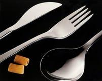 刀叉餐具意大利面食 免版税图库摄影