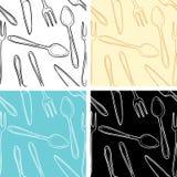 刀叉餐具无缝的模式 库存图片