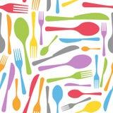 刀叉餐具无缝的模式 免版税库存照片