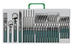 刀叉餐具服务设置了六 免版税库存图片