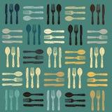 刀叉餐具模式背景 免版税库存照片