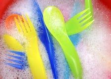 刀叉餐具洗涤物 图库摄影