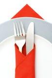 刀叉餐具牌照白色 图库摄影