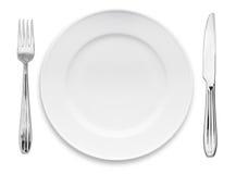 刀叉餐具牌照 免版税图库摄影