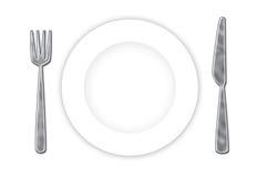 刀叉餐具牌照 免版税库存照片