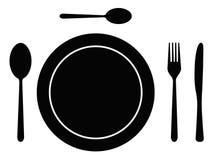 刀叉餐具盘 向量例证
