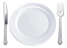 刀叉餐具空的叉子刀子牌照 免版税库存照片